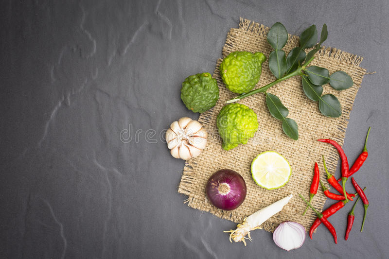Ingredient or raw food for thai food.Such as Tom-Yum-Kung and curry stock images