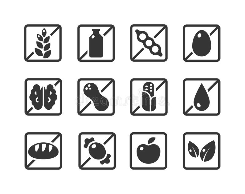 Ingredient warning labels. Set of square ingredient warning label icons. Common allergens (gluten, dairy, soy, egg, nuts and more), sugar and grains, vegetarian vector illustration