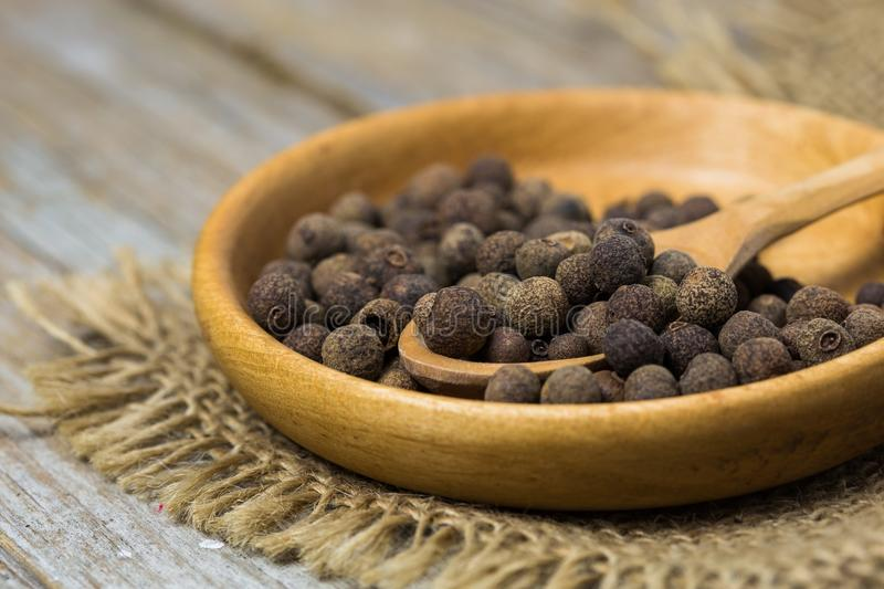 Ingredient white pepper on plate royalty free stock images
