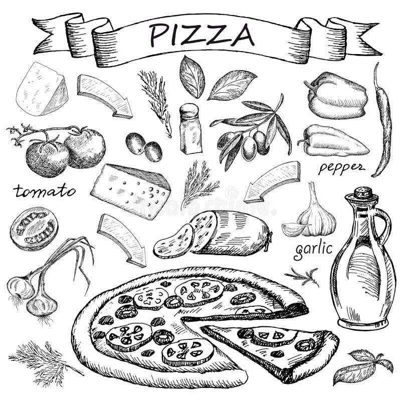 Ingrediente da pizza ilustração royalty free