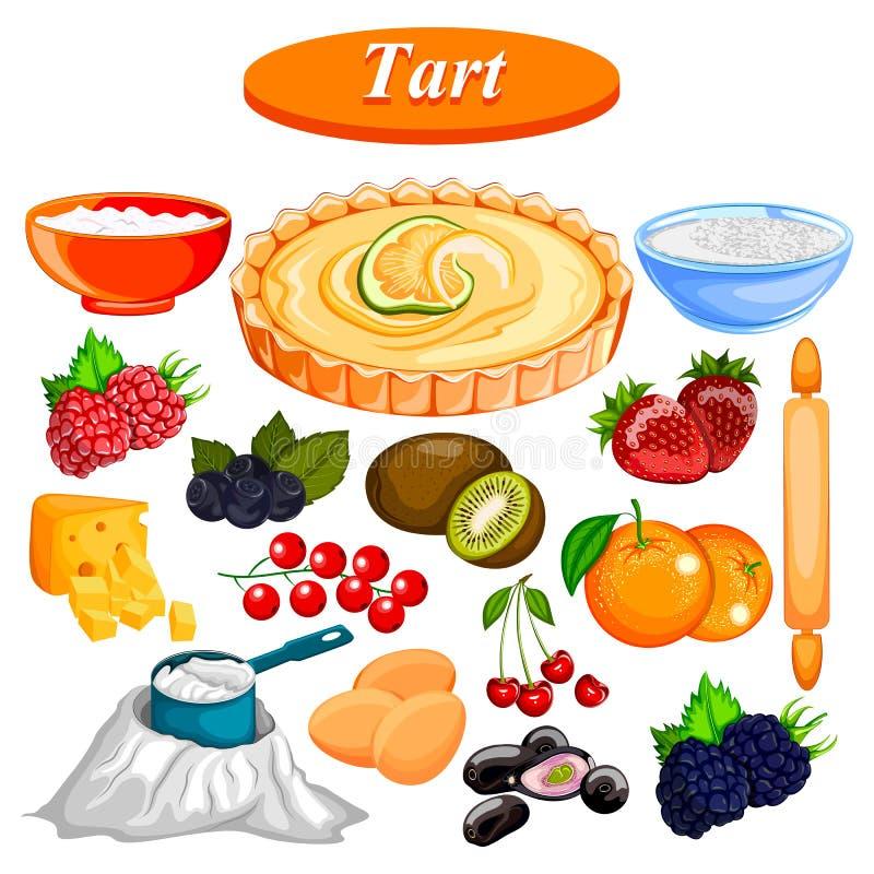 Ingrediente de la comida y de la especia para la tarta de la fruta stock de ilustración