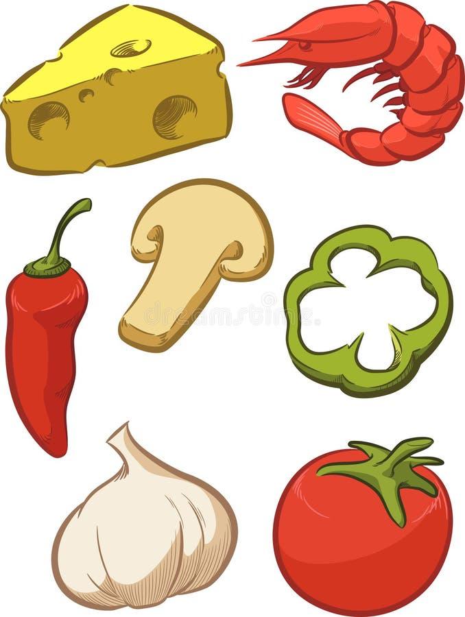 Ingrediente della pizza - pomodoro, formaggio, pepe, cipolla royalty illustrazione gratis