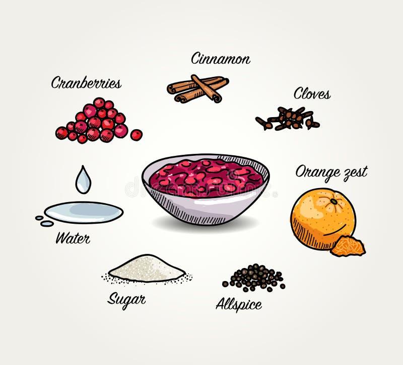 Ingredientes bosquejados de la salsa de arándanos libre illustration
