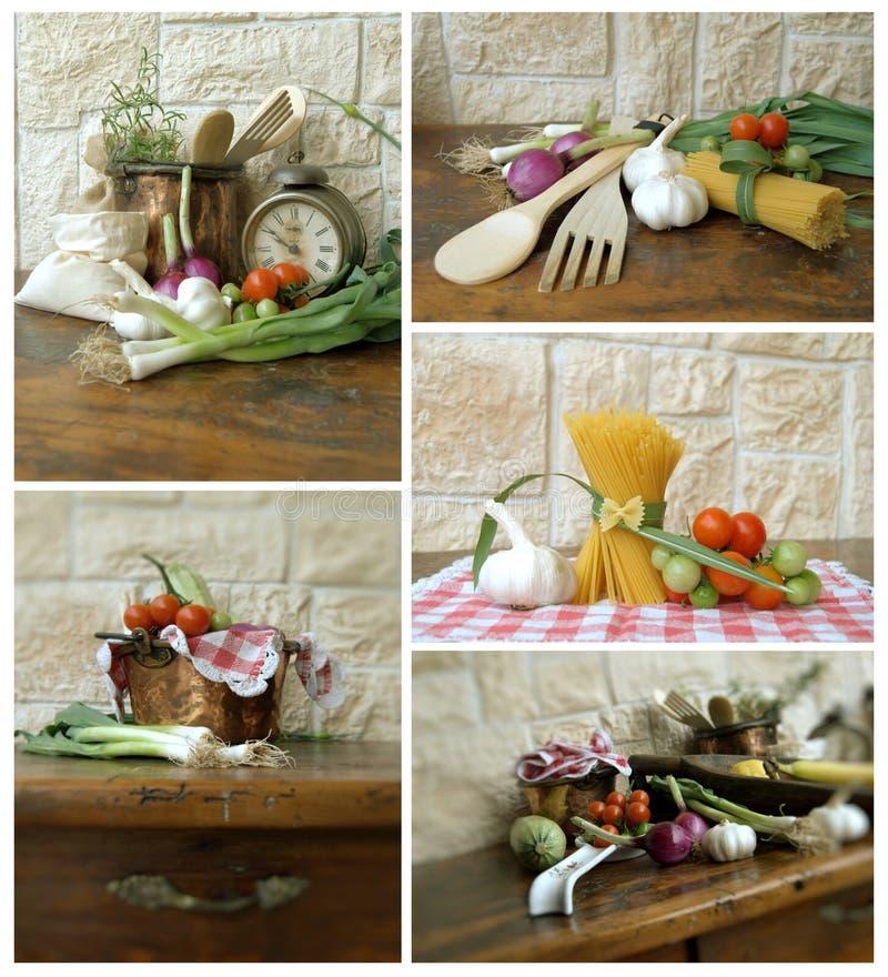 Ingredientes da colagem fotografia de stock