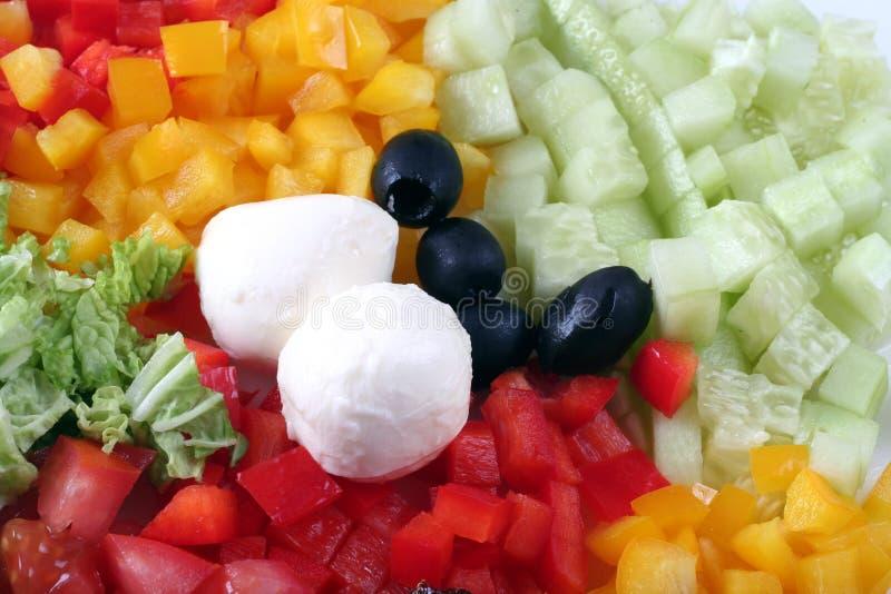 Ingredientes da salada da mistura fotografia de stock royalty free