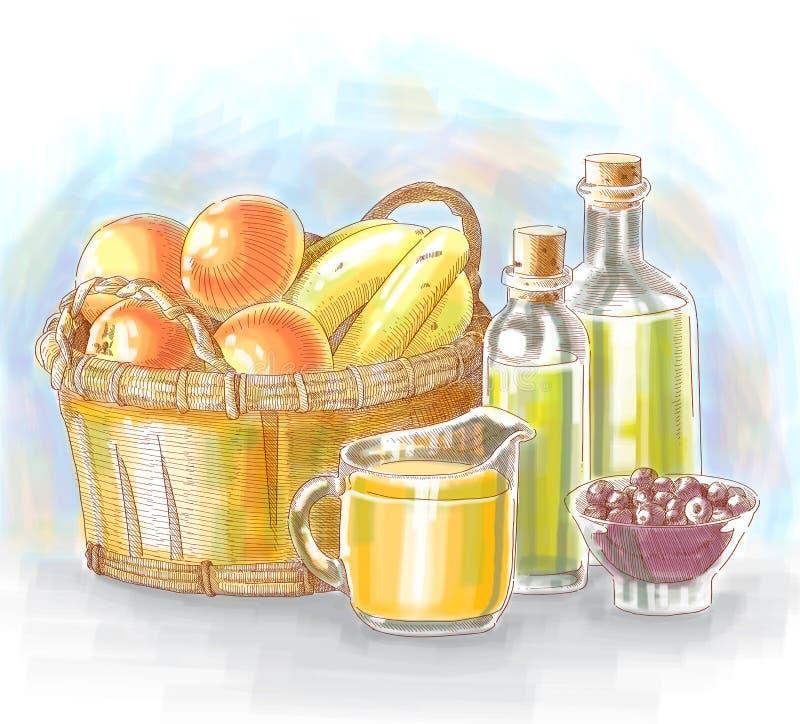 Ingredientes de alimento desenhados mão ilustração stock