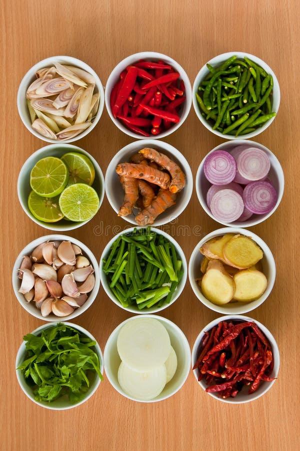 Ingredientes de alimento tailandeses   fotografia de stock