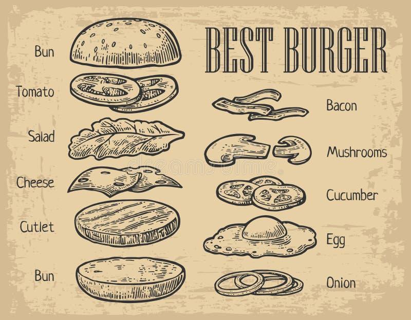 Ingredientes de la hamburguesa en la pizarra componentes pintados ilustración del vector