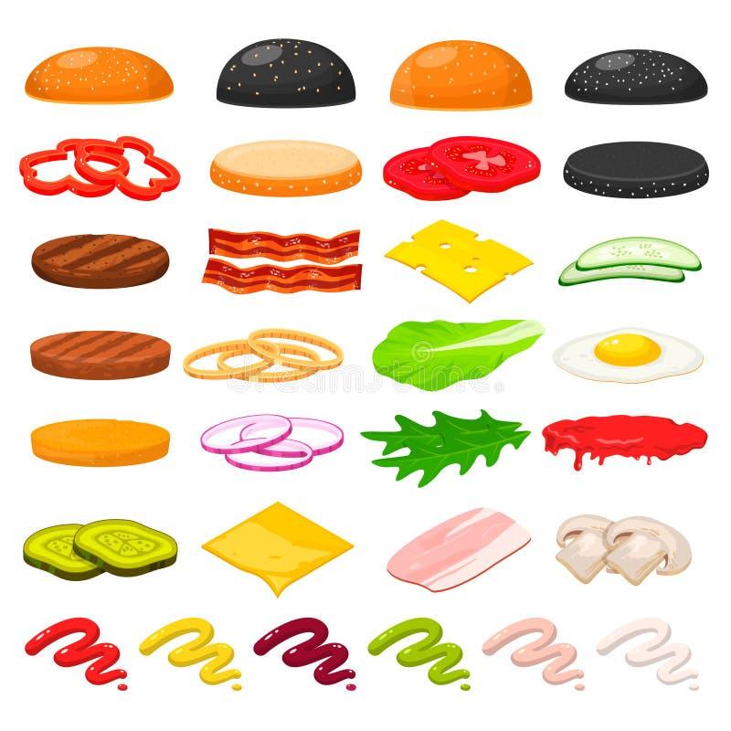 Ingredientes de la hamburguesa fijados ilustración del vector