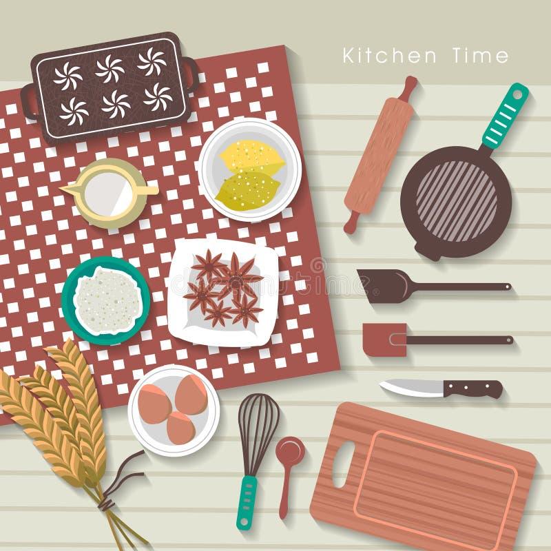 Ingredientes de la hornada en la tabla de cocina en diseño plano ilustración del vector