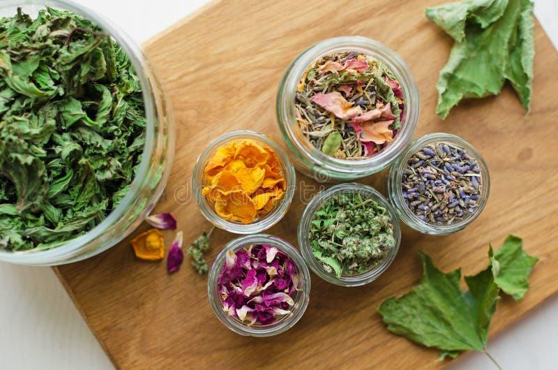 Ingredientes de la infusión de hierbas imagen de archivo libre de regalías