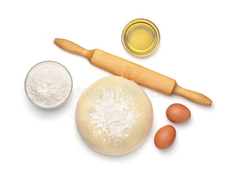 Ingredientes de la pasta y de la hornada fotografía de archivo
