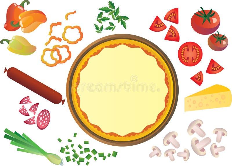Ingredientes de la pizza ilustración del vector