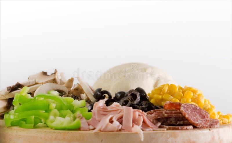 Ingredientes de la pizza imagen de archivo