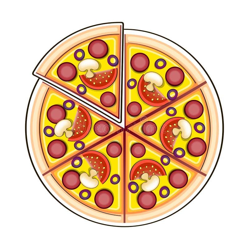 Ingredientes de la pizza en estilo del garabato libre illustration