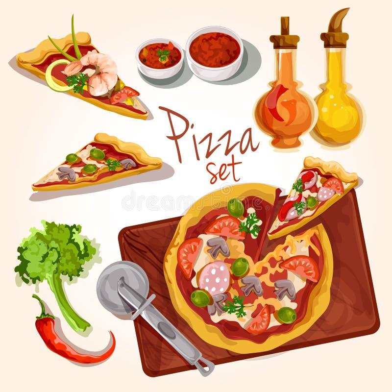 Ingredientes de la pizza fijados ilustración del vector
