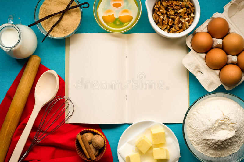 Ingredientes de la receta de la pasta imagen de archivo libre de regalías
