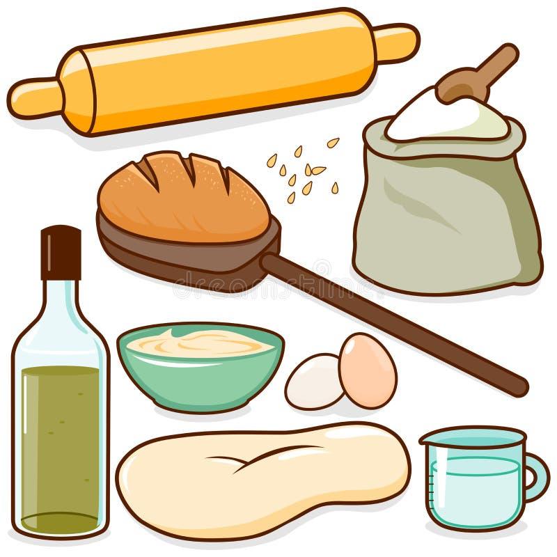 Ingredientes de la receta de la hornada del pan stock de ilustración