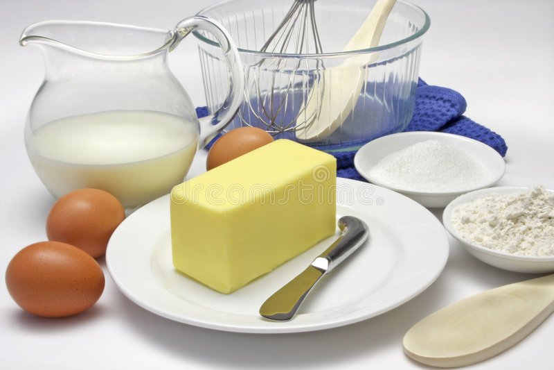 Ingredientes de la torta imagen de archivo libre de regalías