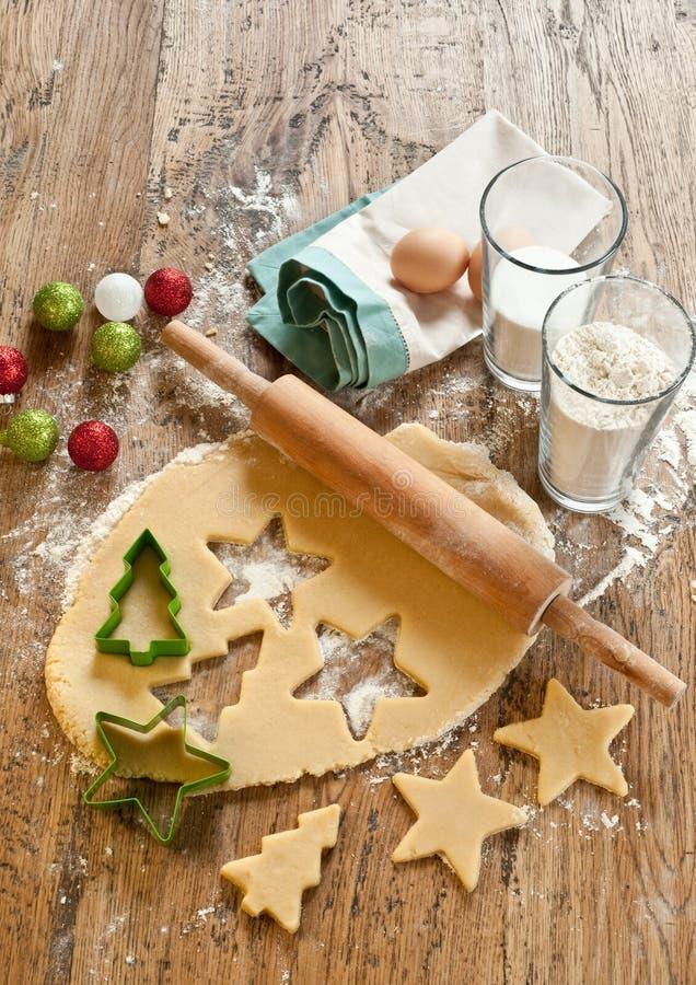 Ingredientes de las galletas de Navidad imagen de archivo