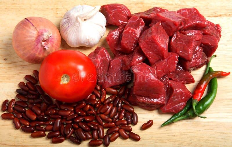 Ingredientes de los chiles de la carne de vaca horizontales fotos de archivo libres de regalías