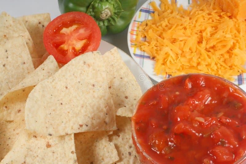 Ingredientes de los Nachos foto de archivo
