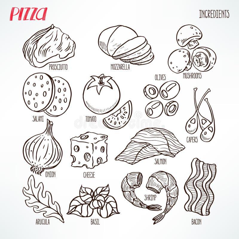 Ingredientes del bosquejo de la pizza ilustración del vector