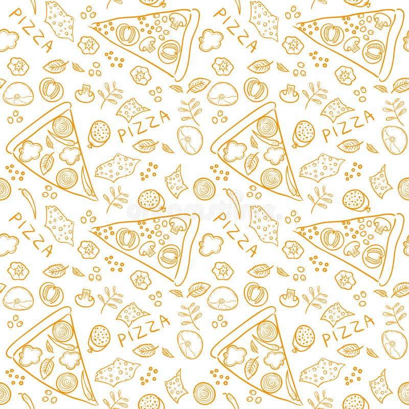 Ingredientes del bosquejo de la pizza - modelo inconsútil del vector anaranjado libre illustration