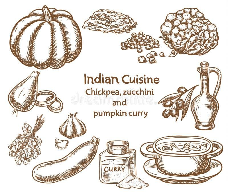 Ingredientes del curry del garbanzo, del calabacín y de la calabaza ilustración del vector