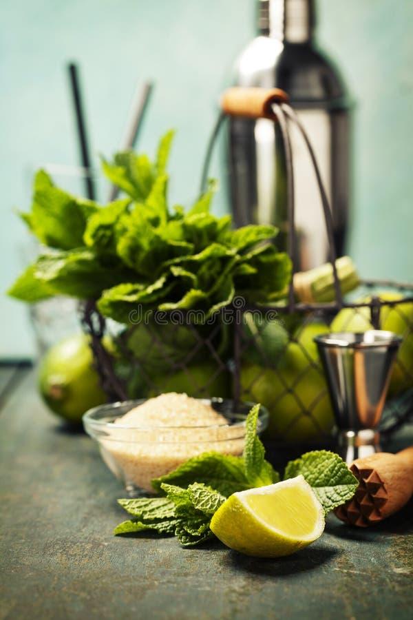 Ingredientes do cocktail de Mojito foto de stock royalty free