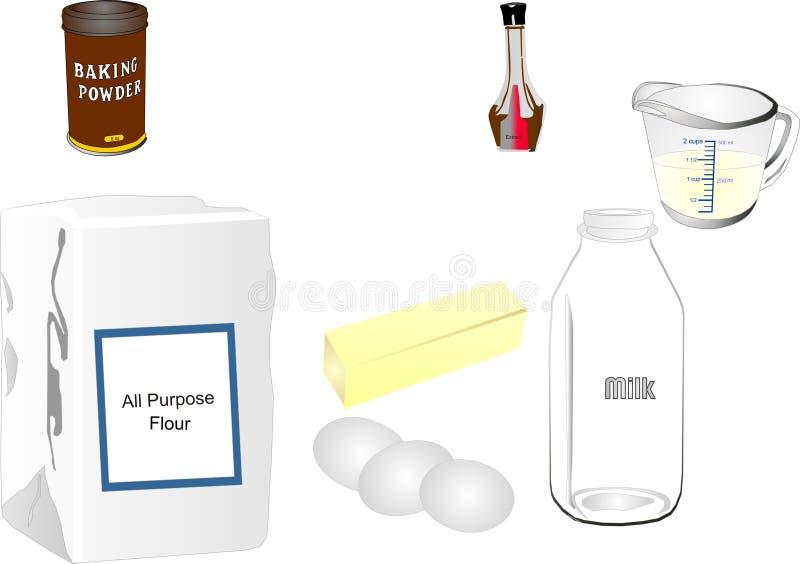 Ingredientes do cozimento ilustração do vetor