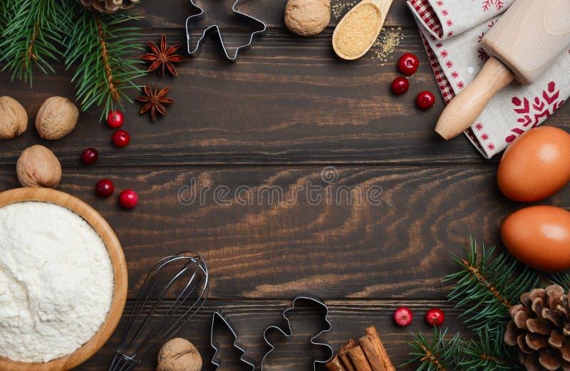 Ingredientes do cozimento do Natal imagens de stock