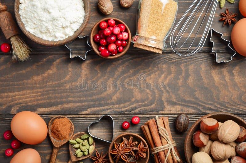 Ingredientes do cozimento do Natal imagem de stock