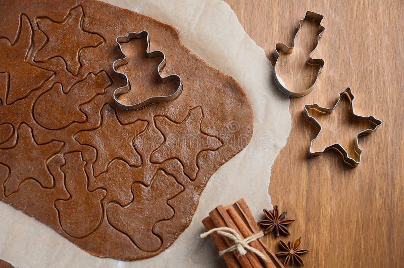 Ingredientes do cozimento para cookies do Natal fotos de stock royalty free