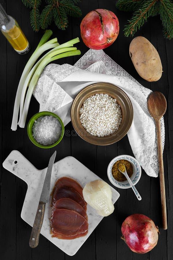 Ingredientes do risoto imagens de stock