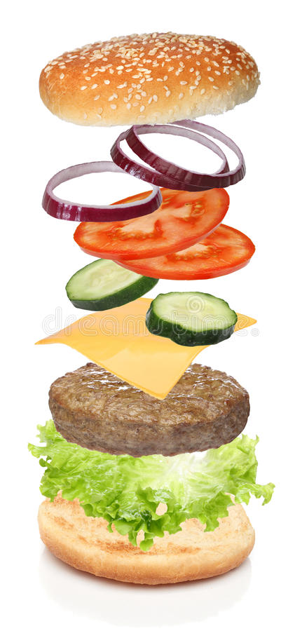 Ingredientes do voo do Hamburger imagem de stock royalty free