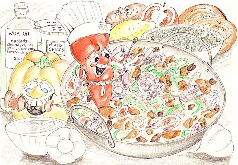 Ingredientes do Wok ilustração do vetor