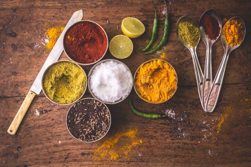 Ingredientes dominantes de la cocina, especias indias fotos de archivo libres de regalías