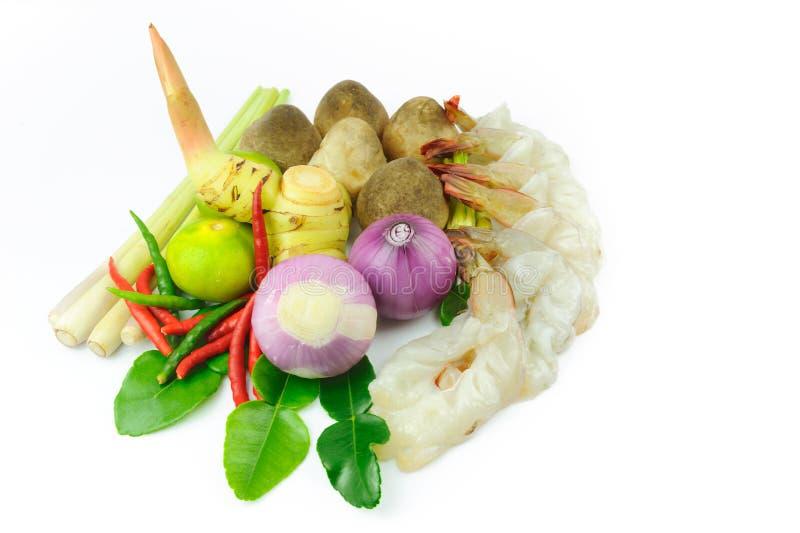 Ingredientes e camarão tailandeses de alimento imagem de stock royalty free
