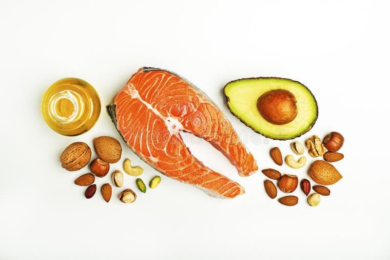Ingredientes frescos com benefícios e a ômega alto-gordos 3 imagem de stock