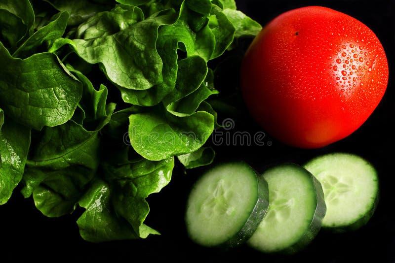 Ingredientes frescos da salada no fundo preto fotos de stock royalty free