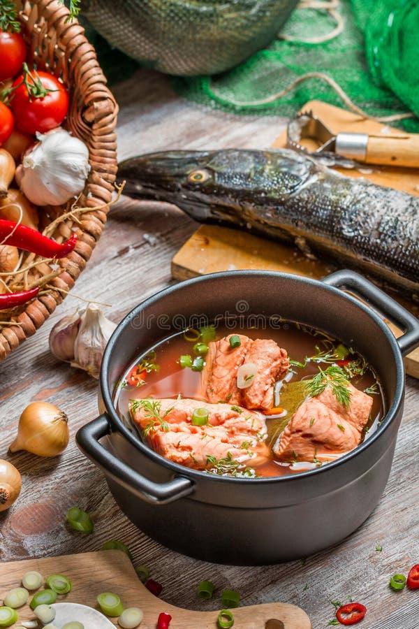 Ingredientes frescos para a sopa dos peixes fotos de stock royalty free