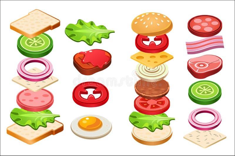 Ingredientes grupo do hamburguer e do sanduíche, bolo, queijo, bacon, tomate, cebola, alface, pepino, ovo, carne, vetor do presu ilustração stock