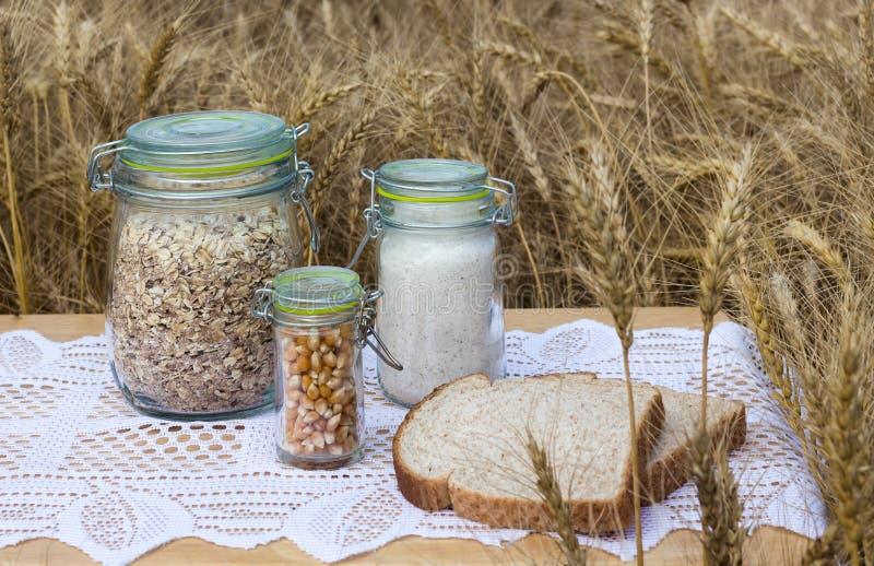 Ingredientes inteiros do trigo em uns frascos imagem de stock