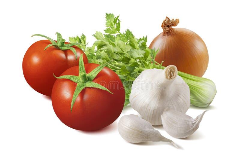 Ingredientes isolados para o molho de tomate caseiro fotografia de stock royalty free