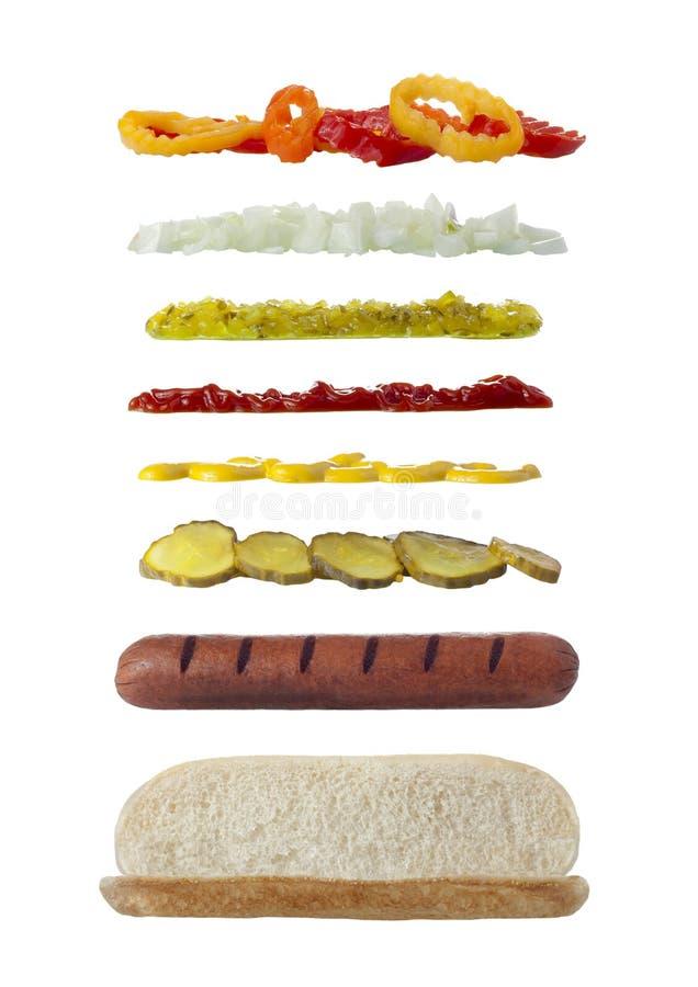 Ingredientes largos del bocadillo imagen de archivo libre de regalías