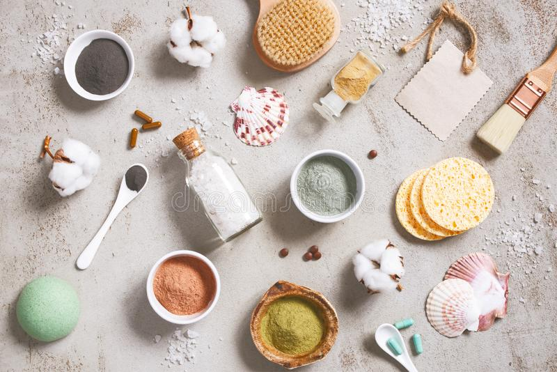 Ingredientes naturais para cosméticos do cuidado, produtos orgânicos do cuidado do corpo foto de stock royalty free