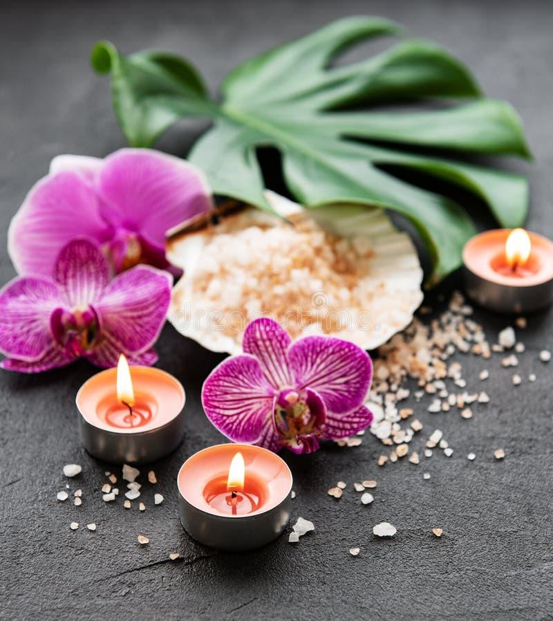 Ingredientes naturales del balneario con las flores de la orquídea imágenes de archivo libres de regalías