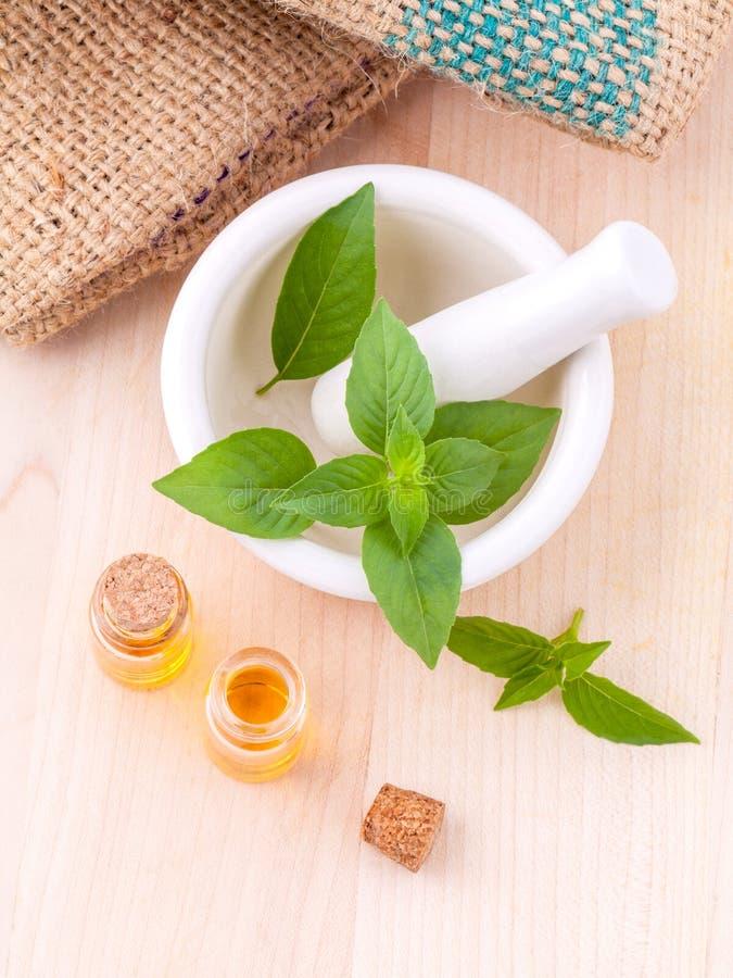 Ingredientes naturales FO de los balnearios del aceite de albahaca del limón de la medicina alternativa foto de archivo
