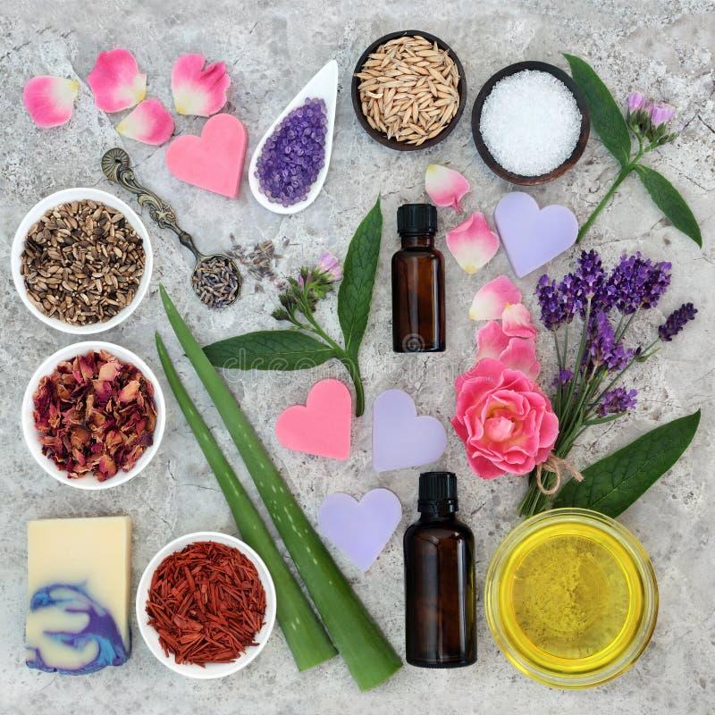 Ingredientes naturales para la atención sanitaria de la piel fotografía de archivo